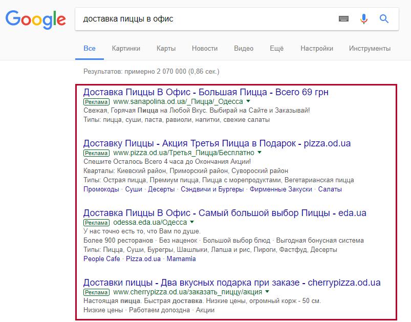Конкуренты в поисковой выдаче Google