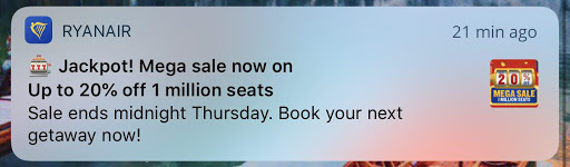 an example of sale app push notification from WIZZ AIR