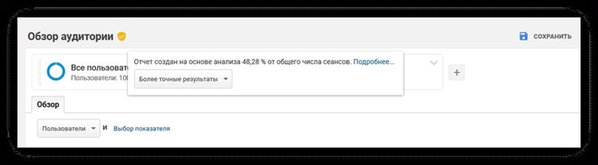Сообщение о выборке данных в Google Analytics